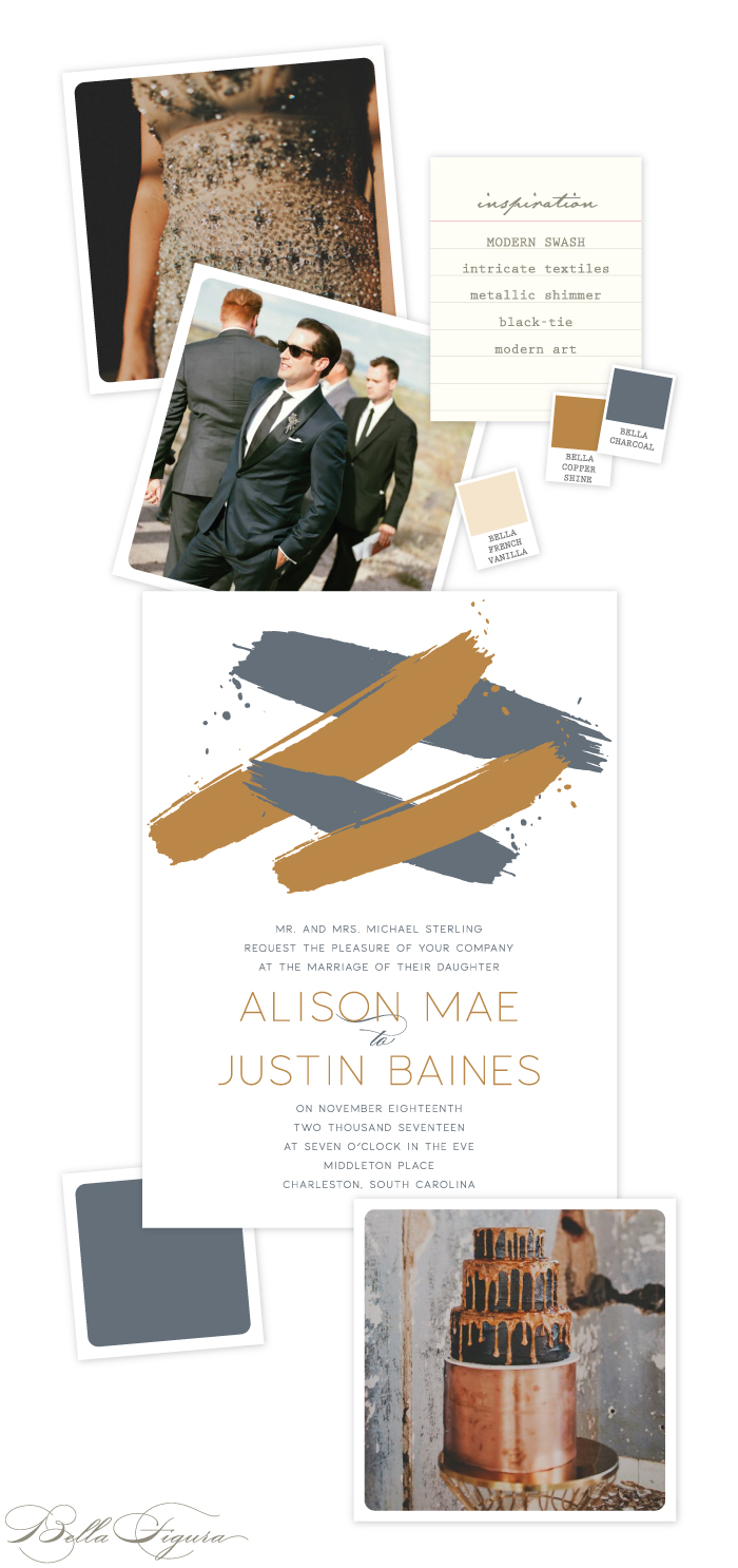 Modern Swash letterpress wedding invitation customization